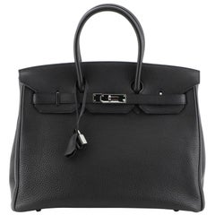 Hermes Birkin Handbag Noir Togo With Palladium Hardware 35