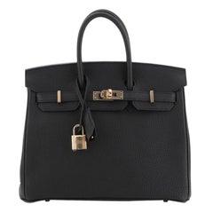 Hermes Birkin Handbag Noir Togo with Rose Gold Hardware 25