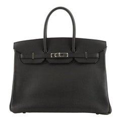 Hermes Birkin Handbag Noir Vache Liegee with Palladium Hardware 35