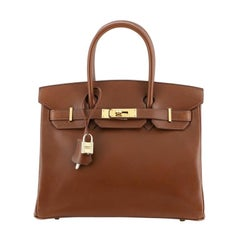 Hermes Birkin Handbag Noisette Box Calf with Gold Hardware 30
