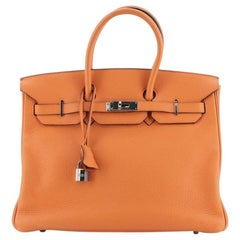 Hermes Birkin Handbag Orange Clemence with Palladium Hardware 35