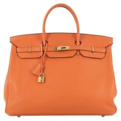 Hermes Birkin Handbag Orange H Clemence With Gold Hardware 40