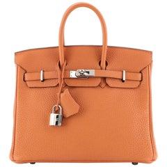 Hermes Birkin Handbag Orange H Clemence with Palladium Hardware 25