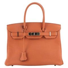 Hermes Birkin Handbag Orange H Clemence with Palladium Hardware 30