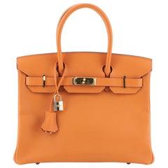Hermes Birkin Handbag Orange H Epsom with Gold Hardware 30