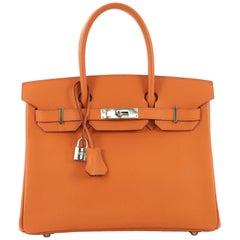 Hermes Birkin Handbag Orange H Epsom with Palladium Hardware 30