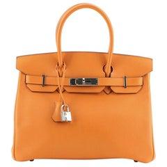 Hermes Birkin Handbag Orange H Swift with Palladium Hardware 30