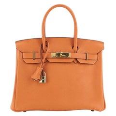 Hermes Birkin Handbag Orange H Togo with Gold Hardware 30