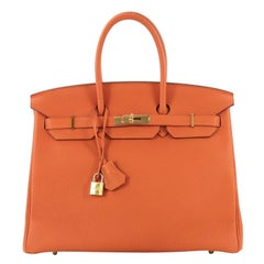 Hermes Birkin Handbag Orange H Togo with Gold Hardware 35