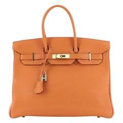 Hermes  Birkin Handbag Orange H Togo with Gold Hardware 35