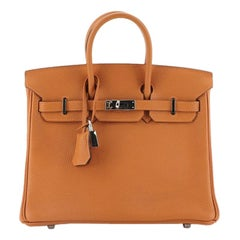 Hermes Birkin Handbag Orange H Togo With Palladium Hardware 25