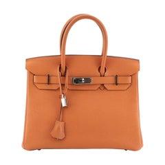 Hermes Birkin Handbag Orange H Togo with Palladium Hardware 30