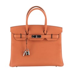Hermes Birkin Handbag Orange H Togo With Palladium Hardware 30