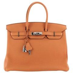 Hermes Birkin Handbag Orange H Togo with Palladium Hardware 35
