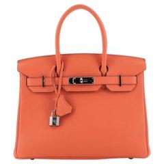 Hermes Birkin Handbag Orange Poppy Togo With Palladium Hardware 30
