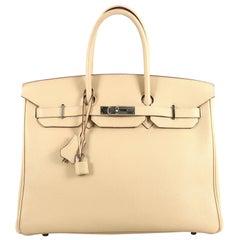 Hermes Birkin Handbag Parchemin Togo with Palladium Hardware 35