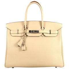 Hermes Birkin Handbag Parchemin Togo with Palladium Hardware 35