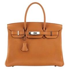 Hermes Birkin Handbag Potiron Clemence with Palladium Hardware 30