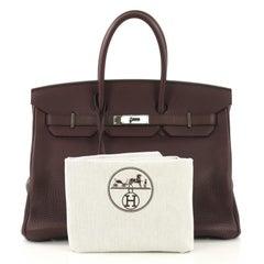 Hermes Birkin Handbag Prune Clemence with Palladium Hardware 35