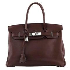 Hermes Birkin Handbag Prune Swift with Palladium Hardware 30