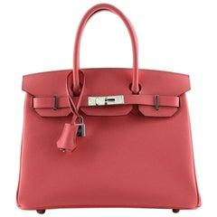 Hermes Birkin Handbag Rose Azalée Epsom with Palladium Hardware 30