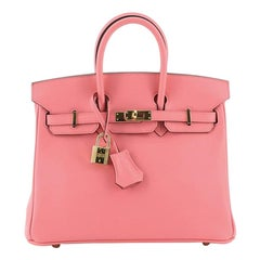 Hermes Birkin Handbag Rose Azalée Swift with Gold Hardware 25