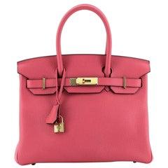 Hermes Birkin Handbag Rose Extreme Clemence With Gold Hardware 30