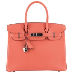 Hermes Birkin Handbag Rose Jaipur Epsom With Palladium Hardware 30