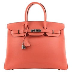 Hermes Birkin Handbag Rose Jaipur Epsom with Palladium Hardware 35