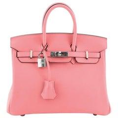 Hermes Birkin Handbag Rose Lipstick Swift with Palladium Hardware 25
