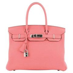 Hermes Birkin Handbag Rose Lipstick Togo with Palladium Hardware 30