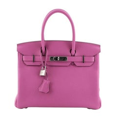 Hermes Birkin Handbag Rose Magnolia Clemence with Palladium Hardware 30