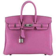 Hermes Birkin Handbag Rose Magnolia Togo with Palladium Hardware 25