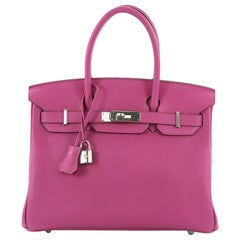 Hermes Birkin Handbag Rose Magnolia Togo with Palladium Hardware 30