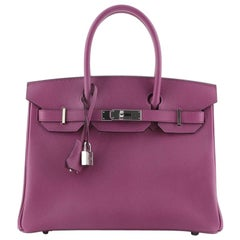Hermes Birkin Handbag Rose Pourpre Epsom with Palladium Hardware 30