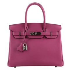 Hermes Birkin Handbag Rose Pourpre Togo with Palladium Hardware 30