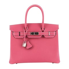 Hermes Birkin Handbag Rose Tyrien Epsom with Palladium Hardware 30