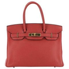 Hermes Birkin Handbag Rouge Casaque Clemence with Gold Hardware 30