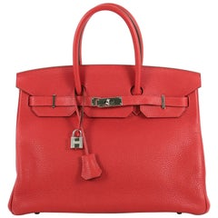 Hermes Birkin Handbag Rouge Casaque Clemence with Palladium Hardware 35