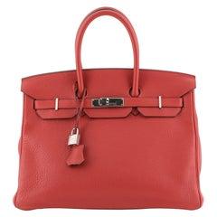 Hermes Birkin Handbag Rouge Casaque Clemence with Palladium Hardware 35