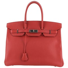 Hermes Birkin Handbag Rouge Casaque Epsom with Palladium Hardware 35