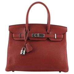 Hermes Birkin Handbag Rouge Garance Clemence with Palladium Hardware 30