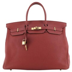 Hermes Birkin Handbag Rouge Garance Togo with Gold Hardware 40