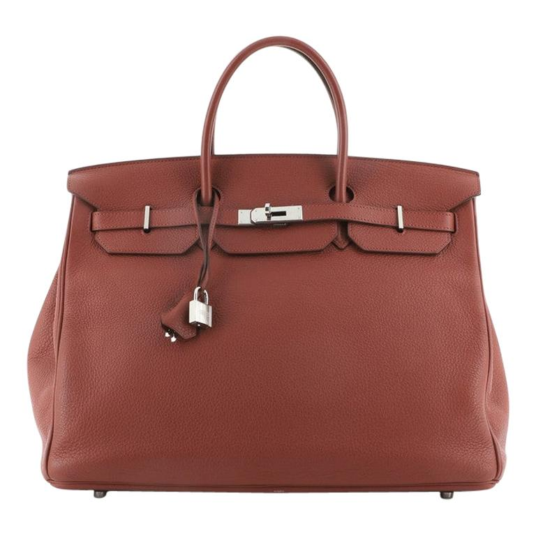 Hermes Birkin Handbag Rouge Garance Togo with Palladium Hardware 40