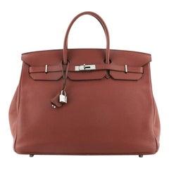 Hermes Birkin Handbag Rouge Garance Togo with Palladium Hardware 40
