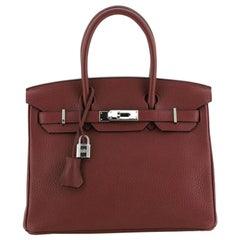 Hermes Birkin Handbag Rouge H Clemence with Palladium Hardware 30
