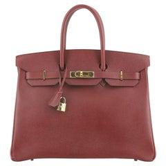 Hermes Birkin Handbag Rouge H Courchevel with Gold Hardware 35