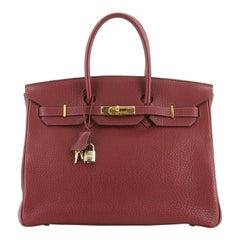 Hermes Birkin Handbag Rouge H Fjord With Gold Hardware 35