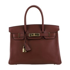 Hermes Birkin Handbag Rouge H Swift With Gold Hardware 30
