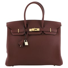 Hermes Birkin Handbag Rouge H Togo with Gold Hardware 35